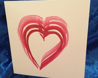 "Box of Six -- 5"" x 5"" Heart Cards"