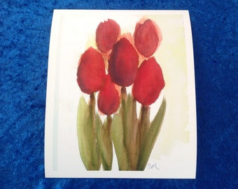 Rosy Red Tulips Giclee Print