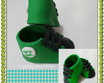 2705b0ad4d53 Edible Pair of baby Superhero Green Lantern SHOES Cake Topper Made of  Vanilla Fondant ready to place on your cake or table as a center piece