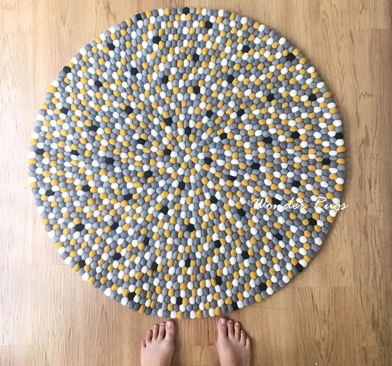 Felt Ball Rugs Yellow Gray White Carpet Large Round Rug Pom Pom Etsy