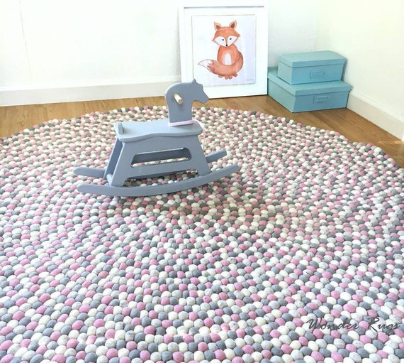 Felt Ball Rug Kids Area Pink And Gray Nursery Carpet Pom Etsy