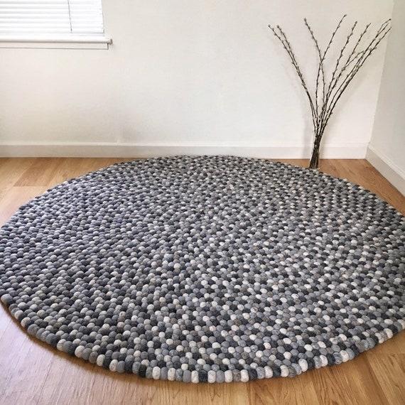 Nursery Rug Pom Pom Felt Balls Home Decor Carpet Round Freckled Living Room