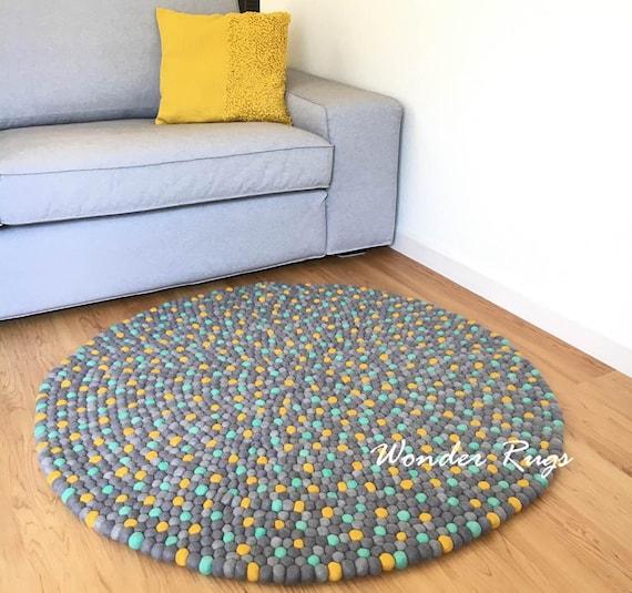 Living room floor decor area rug Pom pom accent rug Cottage carpet Felt  ball rug Large round rug 3\' 4\' 5\' 6\' feet mat - Handmade Wonder Rugs