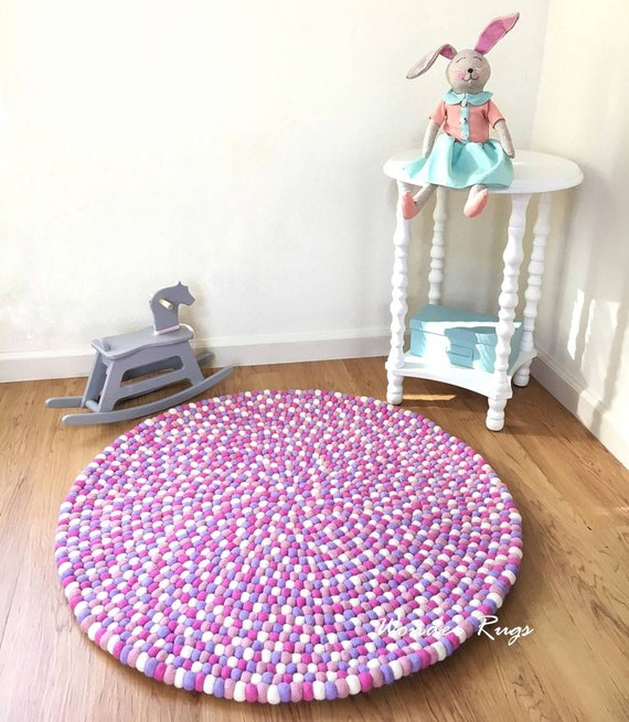 Pink girl nursery rug Pom pom rose carpet Kids room rug White and purple  bedroom rug // Design your own rug from 50 colors by Wonder Rugs