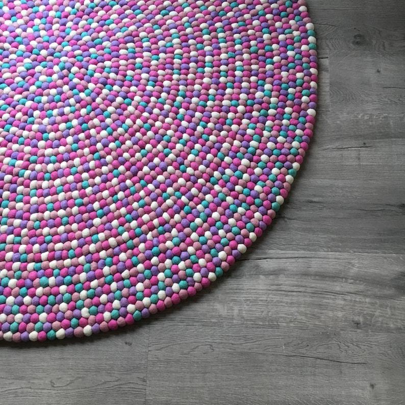 Lila Kinder Teppich Kinderzimmer Filz Kugel Teppich für | Etsy