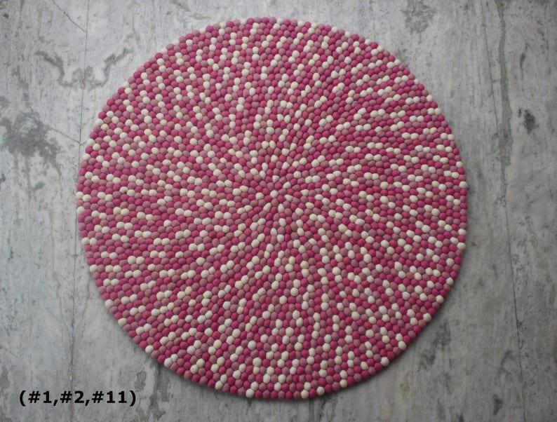 Rosa Filzkugel Teppich Lila Kinderzimmer Teppich handgefertigt 100 %  einzigartige Design Lavendel Rose Teppich Home und ...