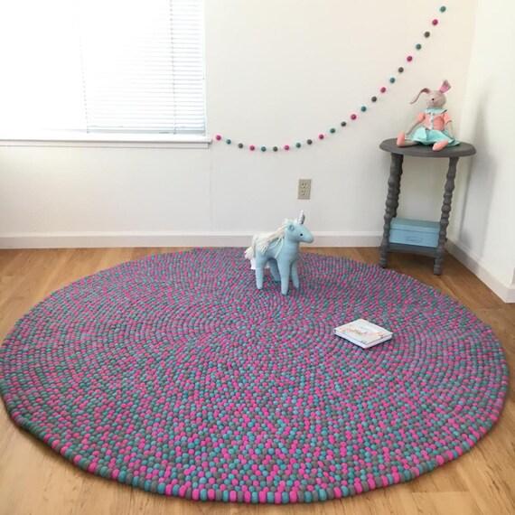 Rosa Turkis Teppich Filz Kugel Teppich Kinderzimmer Und Kinder Zimmer Runden Kleinen Teppich Pom Pom Teppich Bunten Spielzimmer Matte Madchen Zimmer