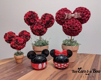Disney inspired // Mickey Minnie Mouse paper rose floral topiary