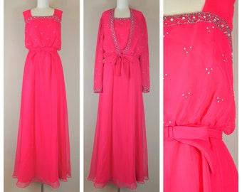 09dc0eb3929 Vintage 1970s Mike Benet hot pink chiffon evening gown rhinestone beads  with matching tie front chiffon bolero  L XL