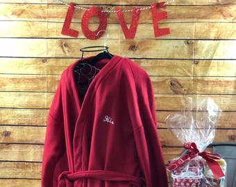 The red fleece Valentine's robe for Him