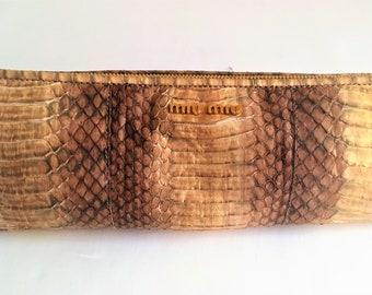 31595081e421 MIU MIU Luxurious Precious Gold Python Bag Clutch Travel Bag