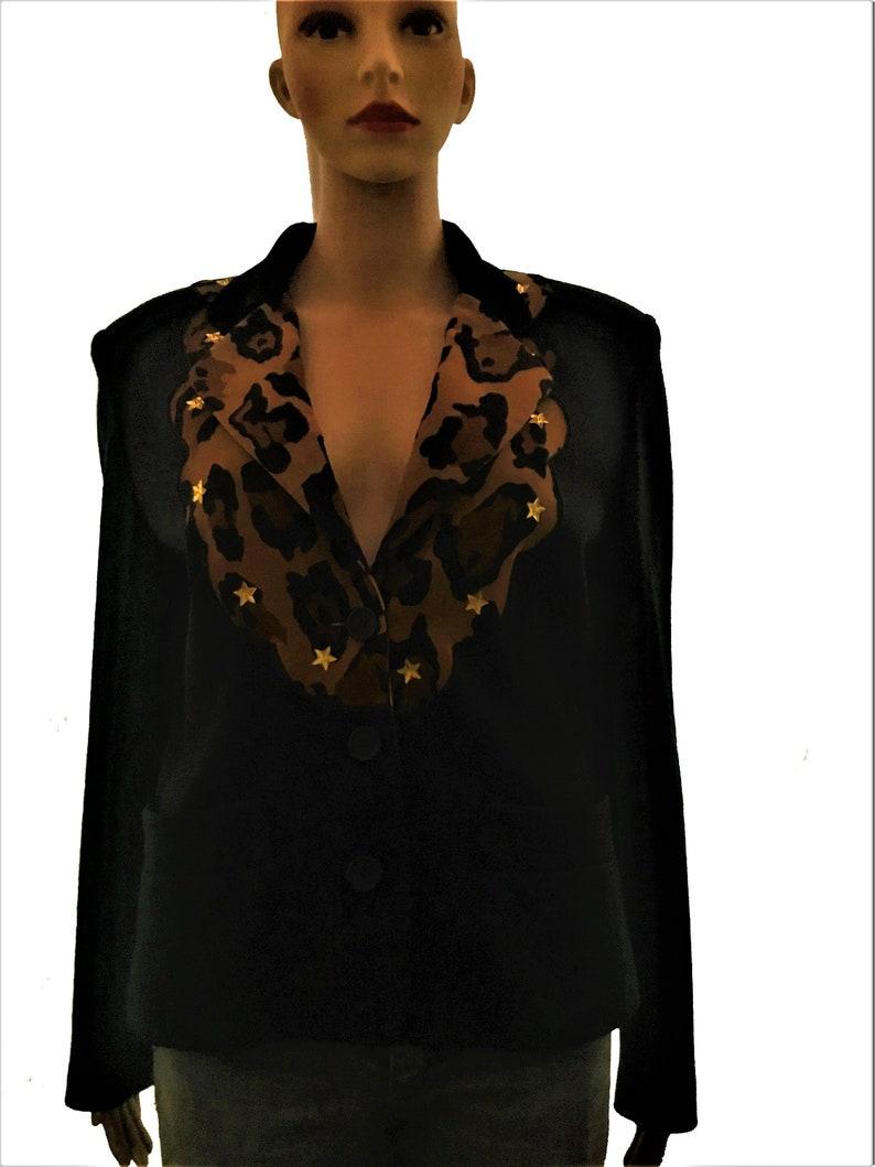 Vintage KENZO JUNGLE 80\u2019s Rare Collector Piece Black Wool Jacket  Blazer  Leopard Print