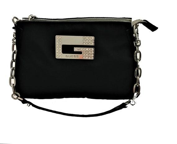GUESS rare pequeño negro satinado bolso bolsa Rhinestones