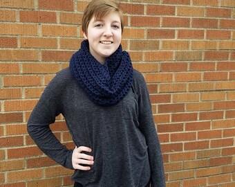 Dark Blue Chunky Crochet Infinity Scarf