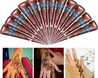 FREE SHIPPING! 12 Natural Herbal Henna Cones, Colors Body Art Paint, Temporary Tattoo Mehendi Ink, Henna Paste, Bridal Henna Kit