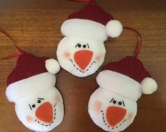Felt Snowman Ornaments - Set of 3