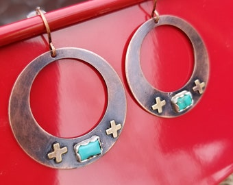 Copper hoop earrings with turquoise