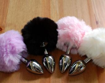 Tail Butt Plug  / Bunny / Rabbit / BDSM / MATURE / Small Plug / Beginner Plug / White / Black / Pink / Purple / Sex Toy