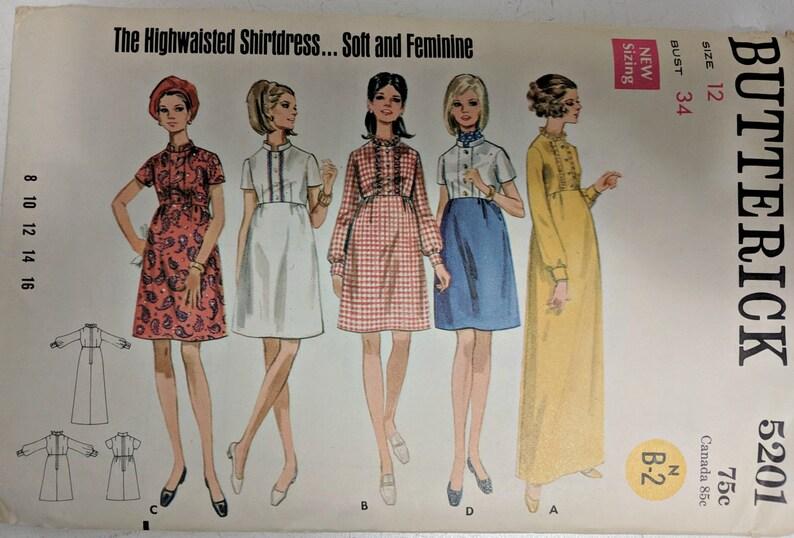 f83081b5769 5201 Butterick Vintage Sewing Pattern Dress Pattern