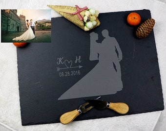 Personalized Anniversary Gift,gift for you,portrait from photo,couple gift,custom slate service tray,Portrait Silhouette Cheese Board,BP04M