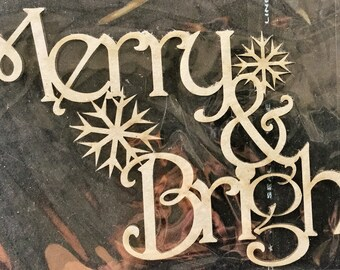2Crafty Christmas Chipboard Merry & Bright with Snowflakes Scrapbooking Card Making Off Page Projects Altered Craft Embellishments FREE P