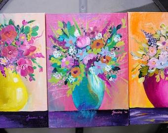 Studio Clearance - Set of 3 flowers in vases