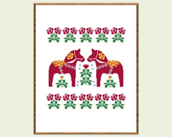 Scandinavian horses cross stitch pattern Modern cross stitch Swedish folk embroidery Red horses counted cross stitch Ethnic xstitch Hoop art
