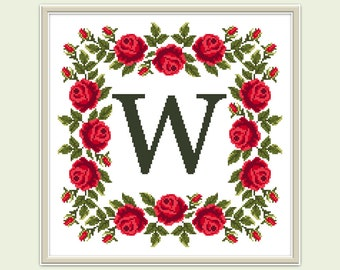 Letter W cross stitch pattern PDF Modern cross stitch monogram Floral embroidery Hoop art Flower counted xstitch chart Instant download