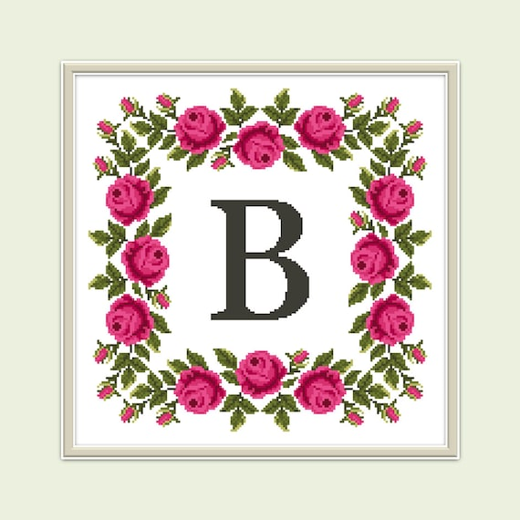 Modern Counted Cross Stitch Pattern Flower Letter Etsy