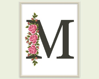 Letter M cross stitch pattern Modern birthday cross stitch monogram pattern Roses embroidery Hoop art Counted cross stitch chart DIY gift