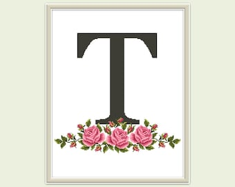 Letter T cross stitch pattern PDF Modern cross stitch Monogram T xstitch Letter embroidery Initials cross stitch Counted cross stitch chart