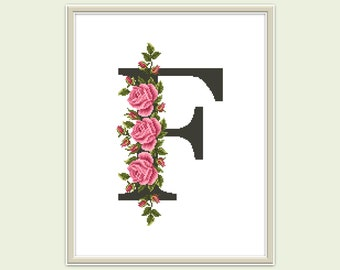Letter F cross stitch pattern PDF Modern cross stitch Monogram F xstitch Pink roses embroidery Floral counted cross stitch chart Hoop art