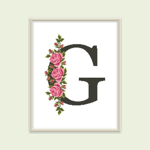 Counted Cross Stitch Pattern Flower Letter G Etsy