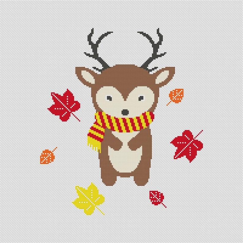 Modern cross stitch pattern Autumn Fawn Instant download PDF #67 Nursery decor
