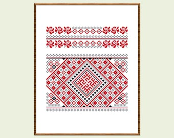 Geometric cross stitch pattern PDF Slavic counted cross stitch Scandinavian xstitch Folk embroidery pillow Ethnic decor Instant download