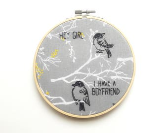 "BirdCalling 6"" Embroidery Hoop Art – Embroidery Art – Hand Embroidery – Wall Art – Rude Embroidery – Modern Embroidery – LIMITED QUANTITY"