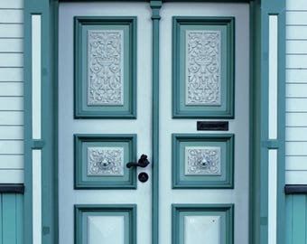 Old Sage green door photography Large wall art double Doors photo print Architecture photo Rustic green doors photo Vintage doors photo