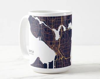 Seattle Map Coffee Mug Navy & Gold