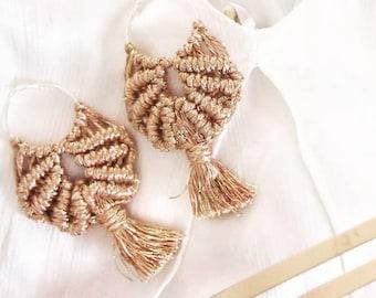 Macrame earings, macrame jewellery, boho fashion, rose gold earings, rose gold jewellery, gifts for her, boho bride, earing hoop