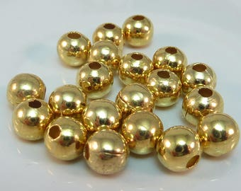 20 bead 6 mm smooth gold tone