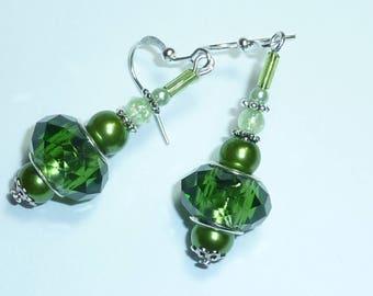 """""""green Crystal"""" Silver earrings jewelry"""