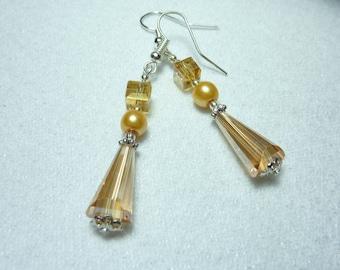 """Silver earrings """"Amber Crystal"""""""