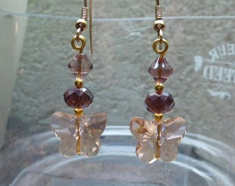"jewel buckle earrings gold and Crystal ""peach and Purple Butterfly"""
