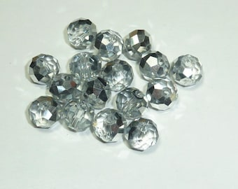 "15 ""Silver Crystal"" swarovski crystal 6mm beads"