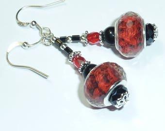 """Red Crystal"" Silver earrings jewelry"