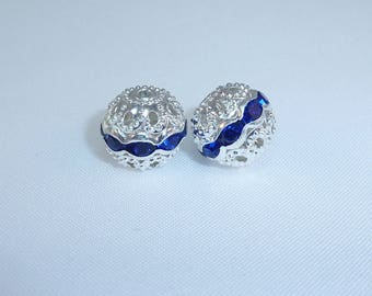 2 filigree beads 10mm silver metal and rhinestone pink or Navy