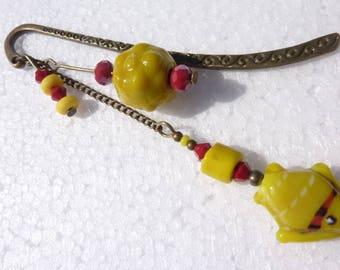 "Bookmark ""yellow fish"" bronze Crystal jewelry"