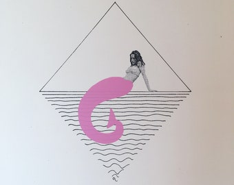 Screenprint // Mermaid // Pink / Black / White
