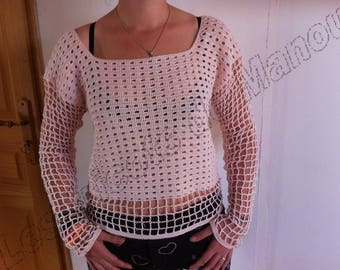 A light sweater pink fine cotton crochet handmade