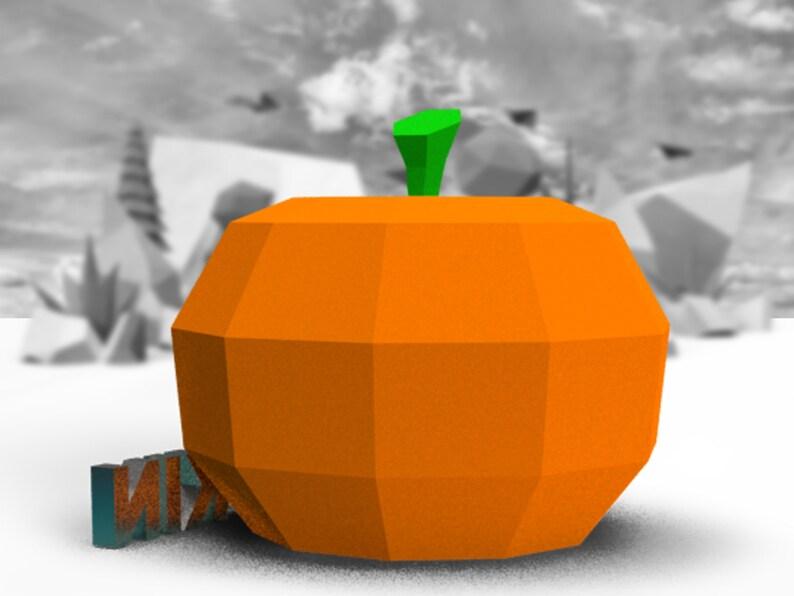 Paper Sculpture Pumpkin Halloween DIY Decor Home Low Poly Pumpkin Art Paper Low Poly DIY